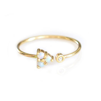 Opal and Diamond Cupid Ring
