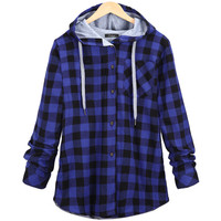 Women's Fashion Cotton Autumn Winter Coat Long Sleeve Blue Plaid Casual Button Hooded Sweatshirt Hoodie