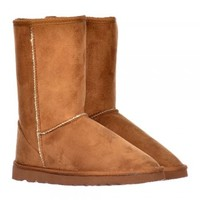 Ella Fur Lined Flat Ankle Winter Slouch Boot - Chestnut Brown, Brown - Ella from Onlineshoe UK