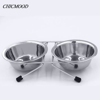 1Pcs Double Stainless Steel Bowls Dog Cat Pet Food Water Feeder Dish With Retro Iron Stand Pet Food Bowls For Dog