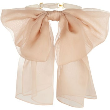 Saint Laurent | Silk-chiffon and leather collar  | NET-A-PORTER.COM