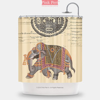 Indian Miniature Elephant Painting Shower Curtain Home & Living Bathroom 138