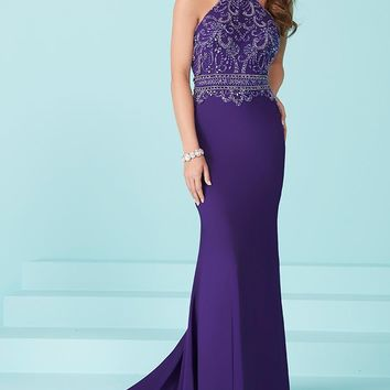 Tiffany Designs - 16224 Sophisticated Halter Prom Dress with Beaded Bodice