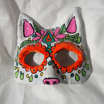 Day of the Dead Animal Masquerade mask, dia de los muertos, costume, Sugar Skull, orange and pink, bright neon colors
