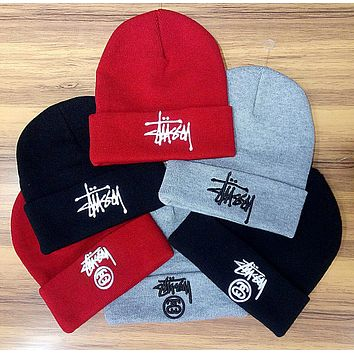 Stussy Woman Men Fashion Embroidery Beanies Winter Knit Hat Cap