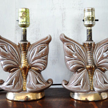 Pair of Vintage Butterfly Lamps, Ceramic Lamps, Table Lamp, Accent Lamp, Desk Lamp
