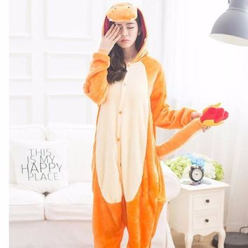 LMFON Anime Pajamas Pokemon Charmander Children Halloween pokemon Unisex Adult Animal Onesuits Cosplay Costume Pajamas Adult Onesuit