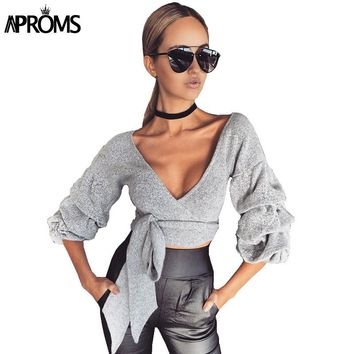 Aproms Sexy Deep V Neck Bow Tie Crop Top Women Autumn Gray Long Sleeve Criss Cross Top Ladies Slim Cropped Tee T Shirt Femme