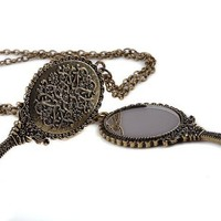 Vintage Fashoin Bronze Necklace Pendant Hand Mirror Chain