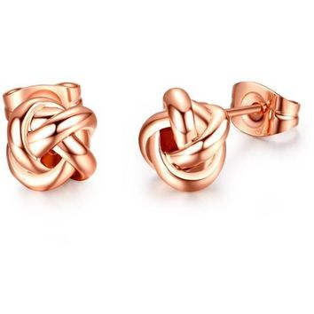 Rose Gold Color Classic Design Love Knot Post Stud Earrings