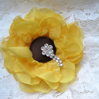 Gorgeous Unique Yellow Chiffon SunFlower Hair Clip or Brooch You Choose with Rhinestone Accent