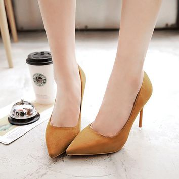 Pointed Toe Suede Low Cut High Stiletto Heel Party Prom Shoes