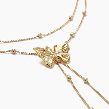 Butterfly Kisses Necklace - 24k Gold