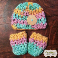 Handspun Sherbet Hat and Leg Warmer Set from Bean Sprout Boutique