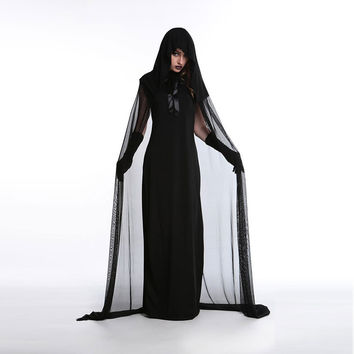 Halloween Zombie Cloak Children Devil Black Costume [8979068039]