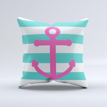 Teal Striped Pink Anchor  Ink-Fuzed Decorative Throw Pillow