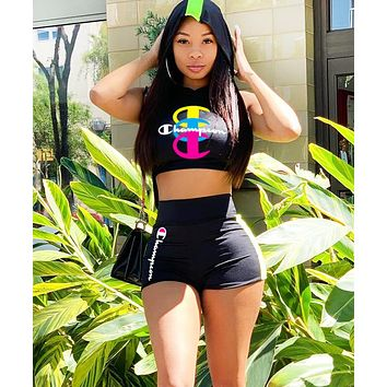 Champion Women Fashion New Summer Letter Print Sports Leisure Two Piece Suit Vest Top And Shorts  Black