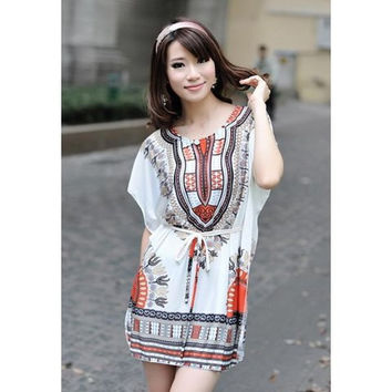 Orange Ethnic Style Drawstring Dress