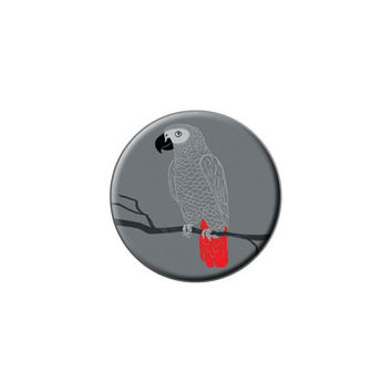 African Grey - Bird Parrot Pet Lapel Hat Pin Tie Tack Small Round