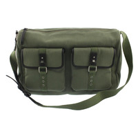 Bodhi Handbags Mens Vintage Army Canvas Leather Trim Duffle Bag