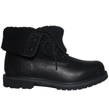 Timberland Earthkeepers Teddy Fleece - Waterproof Black Leather Fold-Over Lace-Up Flee