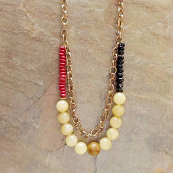 Czech Glass Necklace,Egyptian Beads, Multi Colrs, Brass Chain, Red, Navy Beige and brown,  4tasteofshabbychic