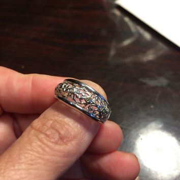 Vintage filigree white Sapphire Crystal Gothic Sterling Silver ring