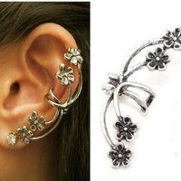 New Coming Fashion Punk Antique Silver Flower Crystal Ear Cuff Stud Earring 1PC