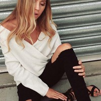 White Plain Irregular V-neck Off-Shoulder Cross Front Pullover Sweater