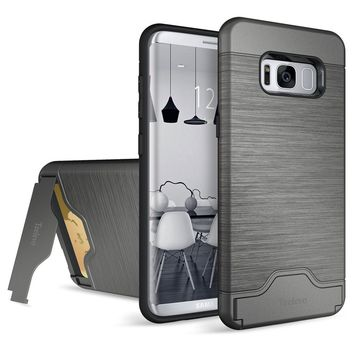 Galaxy S8 Case, Teelevo [Card Slot Holder] Dual Layer Shock Absorption Protective with Credit Card Slot and Kickstand Wallet Case Heavy Duty Bumper for Samsung Galaxy S8 (2017) - Gunmetal Gray