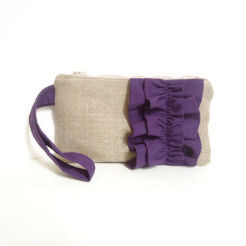 Eggplant Purple Burlap Ruffle Zipper Wristlet - Bridesmaid Gift - Plum Wedding Gift