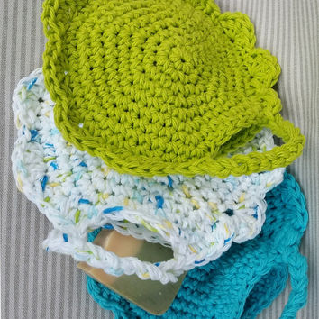 Soap Saver Washcloths Set of 3 ecofriendly handmade crocheted Cotton guest gift bath accent favor stocking stuffer housewarming