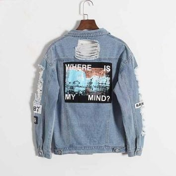 Where Is My Mind? Korea Retro Washing Frayed Embroidery Letter Patch Jeans Bomber Jacket Light Blue Ripped Denim Coat
