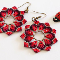 Flower mandala macramè boho hippie earrings red