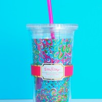 Lilly Pulitzer Acrylic Tumbler with Straw-Lilly's Lagoon