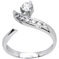 10k White Gold Five Gem with Solitaire Flare Toe Ring