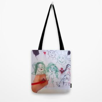 Me and my friends | Kids Drawing Tote Bag by Azima