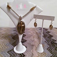 Two-Tone Cross Necklace Set