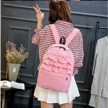 Ruffled Fabric Ballerina Backpack