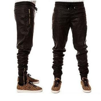 High Quality Kanye West Men\s Jeans Slim Straight Jeans Leather Motorcycle Pants hiphop fashion PU Trouser Men Biker Jogger Pant
