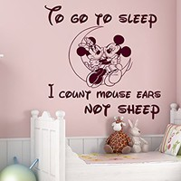 Wall Decals Quotes Vinyl Sticker Decal Quote Walt Disney Mickey Mouse To go to sleep I count mouse ears not sheep Nursery Baby Room Kids Boys Girls Home Decor Bedroom Art Design Interior C72