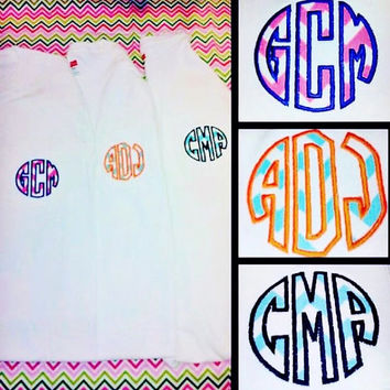 Ladies Chevron circle applique monogrammed pocket tshirt,monogram pocket tee,adult monogram, monogram gift, chevron monogram,ladies monogram