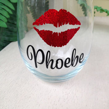 Lip glasses, bridesmaid gift idea, personalized wine glass, stemless wine glass, wedding party glasses, bachelorette glass, wine glasses,