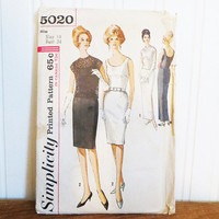 Dress Pattern simplicity 5020 1960s Sheath Dress with Overblouse Size 14 Bust 34