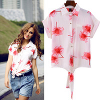 Floral Print Cuffed-Shoulder Tie Front Blouse