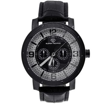 Super Techno Genuine .10ct Diamonds Black Watch