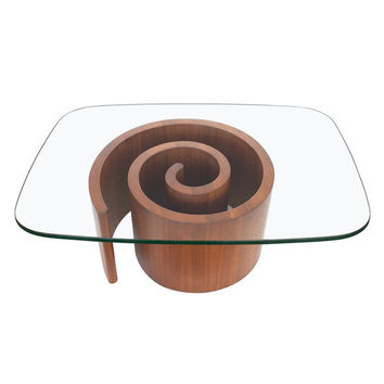 Vladimir Kagan Walnut Snail Coffee Table