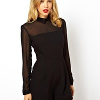 ASOS Playsuit with Sheer Sleeves with Collar Detail - Black