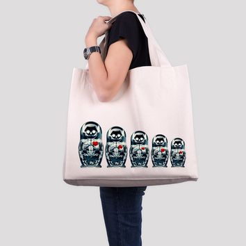Nesting Doll Tote Bag, Large Beach Bag, Traditional Russian Nesting Doll Print Over Sized Bag