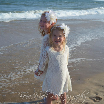 The Autumn Flower Girl Lace Dress, Girls Lace Dress, Ivory Flowergirl Dress for toddlers & girls size 1T,2T,3T,4T,5T,6,7/8,9/10,11/12,13/14